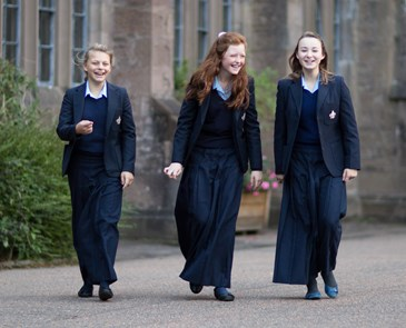 Girls laughing in Glenalmond quad