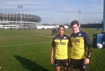 Kaleem and Andrew in Scotland U16 rugby 2015