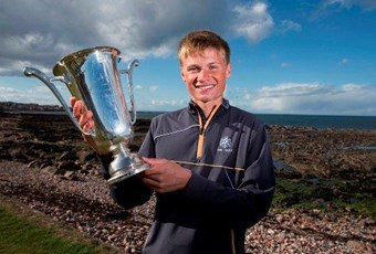 Will P holding trophy for Scottish Boys Golf 2015