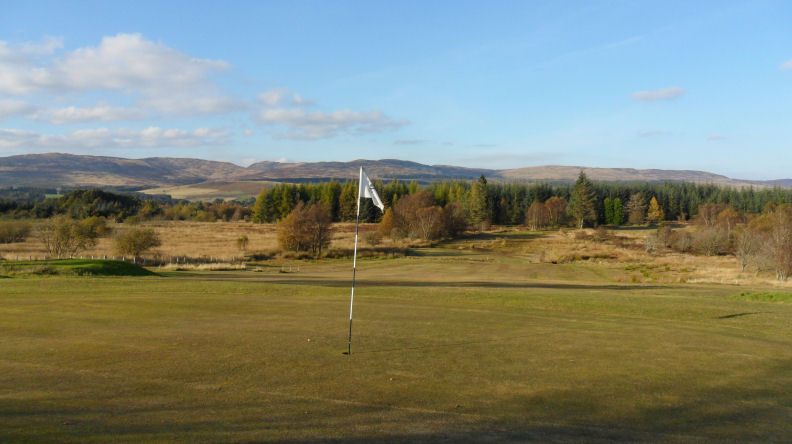 Glenalmond Golf course flag on green