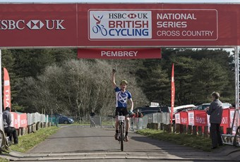 Charlie A celebrating his mountain biking UK win in Wales
