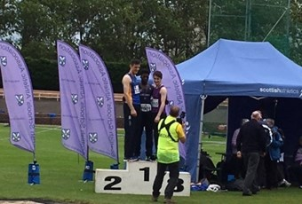 Ope on podium at athletics for high jump 2017